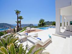 Luxury living on Mallorca. Have a look at this beautiful terrace and the garden with exotic plants, pool and water features, which create a great oasis of silence and relaxation.