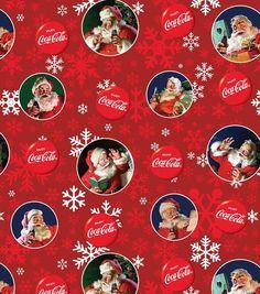 Coca Cola Santa Cotton Fabric-Red