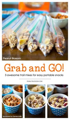Feeding kids on the go can be quite a challenge. Love these 3 fun trail mix combos for keeping packed and ready in the back seat of the car. Perfect if you're traveling for a family road trip or even for keeping ready for after school snacks! Portable Snacks, Camping Snacks, Travel Snacks, Camping Gear, Vacation Snacks, Backyard Camping, Camping Cabins, Camping Equipment, Outdoor Camping