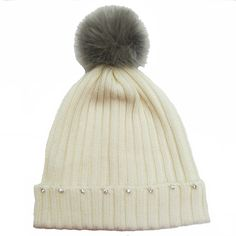 ladies knitted merino wool ribbed beanie with diamantes