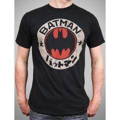 Junk Food Mens Japanese Batman Logo T Shirt, Black Wash
