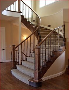 stair railings denver , iron balusters, curved handrail installation