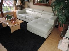 Bloomingdale's Nicoletti Tufted Optic White Leather Sectional Sofa