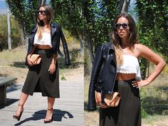 Claudia Villanueva - Zerouv Sunglasses, Style Moi Crop Top, Zara Jacket, Suite Blanco Clutch, Zara Midi Skirt, Asos Sandals - Walking on heels