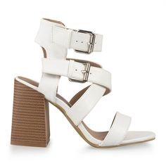 White Double Buckle Sandal - Evening   YDE South African Fashion, White Heels, Toe Shape, Block Heels, Open Toe, Shoes Sandals, Footwear, Lady, White High Heels