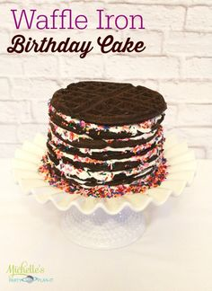 How to make a cake with a Waffle Iron. - Waffle Birthday Cake on Michelle's Party Plan-It