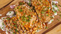 Emeril Lagasse's Grilled Pork Cutlets with Homemade BBQ Sauce and Cilantro Potato Salad Recipe
