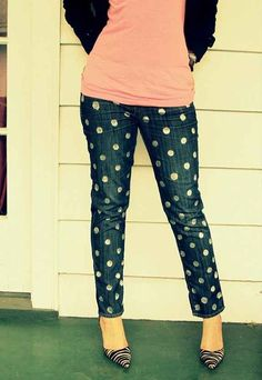 Silver Polka Dot Jeans by Wobisobi | 26 Ways To DIY Your Denim For Back To School