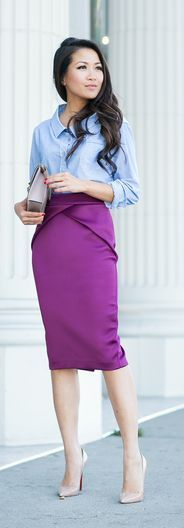 Purple Pencil Skirt Chic Style by Wendy's Lookbook