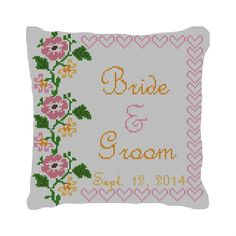 Flowers and Hearts Custom Wedding #Needlepoint Pillow