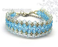 Swarovski bracelet, Bright and Light Blue crystal bracelet by CandyBead on Etsy, $17.50