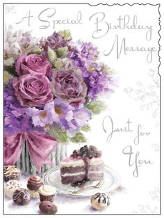 Greeting Card Female Birthday - French Fancies and Pink Flowers - Foil Embossed Finish Happy Birthday To Ya, Happy Birthday Greetings Friends, Happy Birthday Template, Happy Birthday Flower, Birthday Blessings, Happy Birthday Messages, Birthday Cards Images, Funny Happy Birthday Images, Vintage Birthday Cards