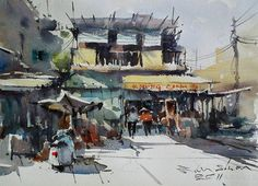Shop on street,Ho Chi Minh. Watercolor by Direk Kingnok