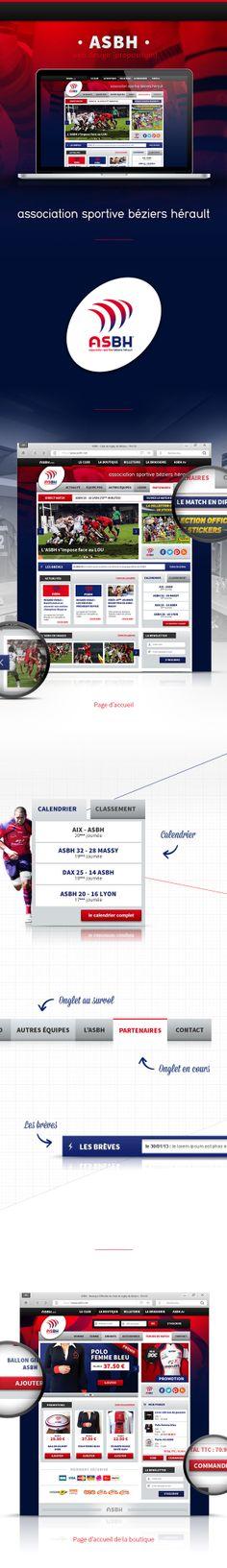 ASBH - Club Rugby Pro - Web design by Ramos Jerome, via Behance Proposition, Rugby, Web Design, Behance, Club, Mockup, Athlete, Design Web, Website Designs