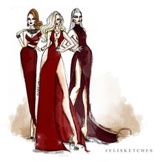 """Oh Bloody Red"" #elisketches #fashionillustration #red #bloodyred #fashion #blonde #fashionsketch #sketch #art #artwork #artph #reddress #fashionstyle #fashionicon #grayhair #beautiful #hairstyle #vogue #elle #glamour #vanityfair #goth #gothfashion #redlipstick#antm#valentino #oscardelarenta #chanel"