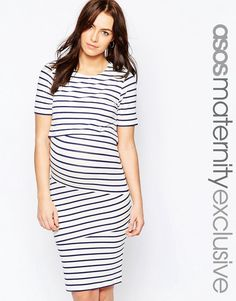 Image 1 of ASOS Maternity NURSING Double Layer Body-Conscious Dress In Stripe