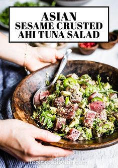 Pan Seared Tuna Steak, Marinated Tuna Steak, Seared Tuna Salad, Ahi Tuna Salad, Tuna Steak Recipes, Steak Salad, Seafood Recipes, Salad Recipes, Tuna Steaks