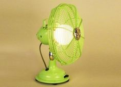 Repurposed- im spray painting mine today! Recycled Lamp, Diy Luminaire, Green Lamp, Fan Lamp, Vintage Fans, Repurposed Items, Sustainable Design, Sustainable Living, Lampshades