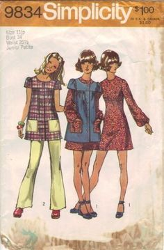 Vintage 70s Junior Petite Mini-Dress Smock and Pants Simplicity Sewing Pattern. Via Etsy.