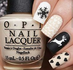 christmas, deer, nails, opi Luxury Beauty - winter nails - http://amzn.to/2lfafj4