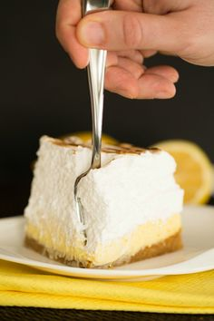 Sky-High Lemon Meringue Bars by @Michelle Flynn Flynn Flynn (Brown Eyed Baker) - I HAVE to try these!