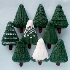 Christmas Trees 1 Knitting pattern by Squibblybups - Christmas Knitting - Nine different Christmas trees which can be left as they are or decorated. The trees are knit flat - Christmas Tree Knitting Pattern, Knit Christmas Ornaments, Christmas Crafts, Knitted Christmas Decorations, Christmas Ideas, Christmas Lights, Santa Ornaments, Modern Christmas, Christmas Pictures