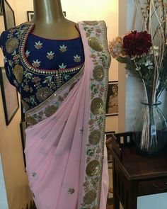 Beautiful combination hand embroidery on saree