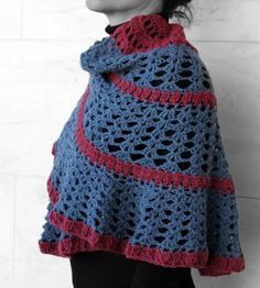 Slawl blue and red by MmeDefargeYarnworks on Etsy