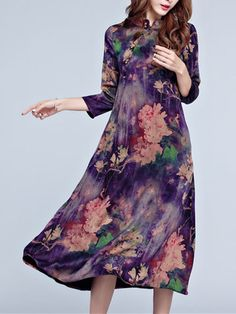 Vintage Women Floral Printed Chinese Style Silk Dresses