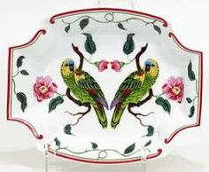 """Parrots of Paradise"" fine china tray by Lynn Chase Designs, c. 1989"