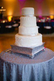 Classic, yet modern, white wedding cake