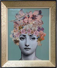 Decoupage inspiración Fornasetti marco vintage en por Lorypalomi
