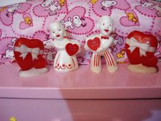 Vintage Rosbro Valentine Candy Container Lot Boy Girl Hearts
