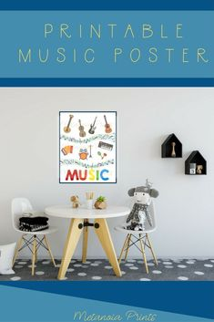 Printable multicolor music poster filled with musical instruments and music notes. Inspire children with the love of music from early-on, and put that pop of color in their playroom with this music printable poster. Family Wall Art, Art Wall Kids, Nursery Wall Art, Nursery Quotes, Music Wall Art, Music Decor, Music For Kids, Art For Kids, Playroom Wall Decor