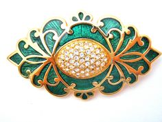 Green Enamel Crystal Swarovski Brooch Pin