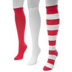 Adult MUK LUKS Game Day 3-pk. Knee-High Socks (£15) ❤ liked on Polyvore featuring intimates, hosiery, socks, red, knee high socks, muk luks socks, red knee socks, red knee high socks and red socks