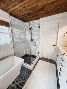 Next Bathroom, Upstairs Bathrooms, Bathroom Renos, White Bathroom, Small Bathrooms, Bathroom Remodeling, Wood In Bathroom, Shiplap Master Bathroom, Small Master Bathroom Ideas