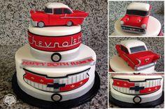 Chevy 57 cake. 60th Birthday Cake For Men, Daddy Birthday, 70th Birthday Parties, Adult Birthday Party, Birthday Party Decorations, Car Cakes For Men, Jeep Cake, Bithday Cake, Baby Boy