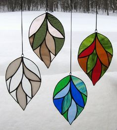 Four Seasons Stained Glass Leaf Suncatcher by valleybeadglassart