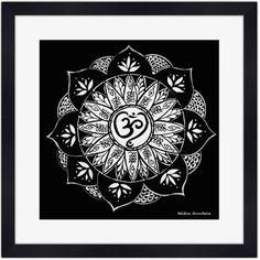 Mandala Noir & Blanc - Poster Carré Encadré : Décorations murales par helenegondelle