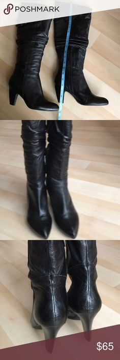 """Black leather boots Black pebbled leather boots with buckles. Very cute. Soft and comfy. Heel height 3,5"""". Circumference at the top is 16"""". Great used condition. Apepazza Shoes Heeled Boots"""