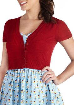 There's an Apple for That Cardigan - Short, Red, Solid, Buttons, Casual, Short Sleeves, Daytime Party, Basic