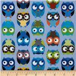 Timeless Treasures Owls Blue from fabric.com