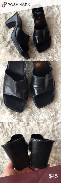 Linea Paolo Leather Sandals These sandals are a black leather. They have a unique squared toe. These are in gently used condition. Hardly show wear. Great versatile style! Size 9. Save on ✈️SHIPPING✈️and 🎁BUNDLE! I even give a discount on 3 or more regularly priced item bundles. I always accept reasonable offers with the offer button! 🚫❌Lowball offers please! Linea Paolo Shoes Sandals