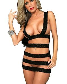 Omos Damen Dessous-Sets Fesseln Band G-String Bodydoll Schwarz