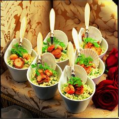 Mmmmm mini seafood risottos, spoil your guests with fabulously presented canapés.