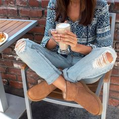 """Don't be fooled, this is our third cup. #NationalCoffeeDay #UGGBoots"""