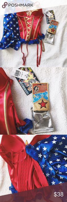 Wonder Woman Costume (top) + accessories Wonder Woman costume corset (top) + accessories ONLY | new/never worn | adjustable corset | adjustable straps | removable cape | no snags/tears | excellent condition | great for Halloween, raves, cosplay, Comic Con, Fanime, etc. | not selling the pieces separately | ⛔️ PRICES FIRM, NO RETURN/EXCHANGE, NO TRADES/SWAP, ⛔️ALL SALES FINAL /// #WonderWoman #DCComics #Costume #Cosplay #DianaPrince #Corset DC Comics Tops