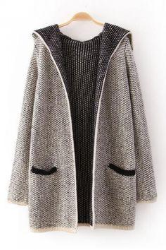 Gorgeous Grey Long Sleeves Hoodie Cardigan Sweater