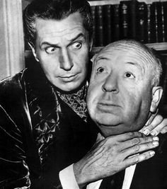 Vincent Price and Alfred Hitchock on the set of Alfred Hitchcock Presents, 1957.